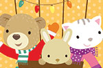 Heidi D'Hamers Illustration - heidi d'hamers, heidi d'hamers, picture book, educational, picturebook, board, digital, photoshop, illustrator, colour, animals, hot air balloon, christmas, seasonal, lights, bear, bunny, rabbit, kitten, clouds, snow, stars, trees, decorations