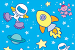 Helen Prole Illustration - helen prole, educational, commercial, digital, mass market, value, activity, colouring, stationary, wrapping, space, astronauts, aliens, stars planets