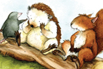Hannah Whitty Illustration - hannah whitty, commercial, paint, painted, watercolour, picture book, picturebook, fiction, animals, hedgehogs, squirrels, moles
