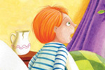 Laura  Barella Illustration - laura, barella, laura barella, acrylic, paint, painted, commercial, trade, picture book, picturebook, fairy tale, fairytale, fairy tales, people, boy, boys, child, children, bed, bedroom, jack and the beanstalk, jack, beanstalk, fairy tale, fairy tales, fairytale