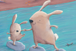 Alison Brown Illustration - alison, brown, alison brown, paint, painted, acrylic, commercial, trade, picture book, picturebook, novelty, mass market, fiction, young reader, YA, animal, cute, sweet, rabbits, mum, baby, play, help, learn, water, river, leaves, rocks, trees, bunny,step
