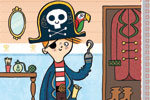 Ana Bermejo Illustration - ana bermejo, ana, bermejo, digital, fiction, commercial, picture books, novelty, young, educational, activity, photoshop, illustrator, colourful, colour, young reader, YA, pirate, boy, child, person, figure, figurative, parrot, bird, hook, map, room, eye patch, pirate hat, hat, wardrobe, boots
