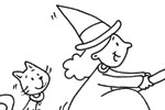 Andrew Geeson Illustration - andrew, geeson, digital, copy artist, photoshop, illustrator, educational, novelty, board book, b&w, black&white, colouring book, characters, witch, broom stick, flying, moon, cat, hat