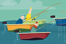 Ana Garcia Illustration - ana, garcia, ana garcia, commercial, educational, fiction, mass market, novelty, board books, activity, puzzle, digital, photoshop, illustrator, boat, submarine, water, ocean, sea, person, figure, figurative, fishing, boats, fishermen, fish,