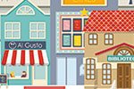 Ana Garcia Illustration - ana, garcia, ana garcia, commercial, educational, mass market, novelty, board books, activity, puzzle, board games, digital, photoshop, illustrator, scenery, landscape, buildings, town, shops,busy, city, park, trees