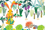 Ana Gomez Illustration - ana, gomez, ana gomez, picture books, children's books, comics, cartoons, colourful, bright, illustrator, animals, rabbit, bunny, hedgehog, garden, vegetables, leaves, autumn, food, playing, eat, eating, play, fun