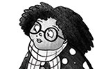 Amberin Huq Illustration - Amberin Huq, Amberin, Huq, illustration, pencil, drawing, photoshop, black and white, b&w, digital, commercial, mass market, fiction, woman, person, figure, dog, pet, animal, leash, walking, walk, poodle, happy, polka dots, scarf, smile, glasses, friends,