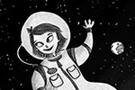 Amberin Huq Illustration - Amberin Huq, Amberin, Huq, illustration, pencil, drawing, photoshop, black and white, b&w, digital, commercial, mass market, fiction, space, spacewoman, astronaut, woman, person, figure, alien, eyes, moon, rock, surface, wave, hello, goodbye, earth, robot