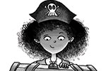 Amberin Huq Illustration - Amberin Huq, Amberin, Huq, illustration, pencil, drawing, photoshop, black and white, b&w, digital, commercial, mass market, fiction, adventure, girl, person, character, pirate, hat, skull, chest, treasure, treasure chest, glowing, exciting, story