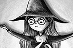 Amberin Huq Illustration - Amberin Huq, Amberin, Huq, illustration, pencil, drawing, photoshop, black and white, b & w, digital, commercial, mass market, fiction, with, girl, person, figure, cauldron, magic, fantasy, fire, brewing, showdown, wand, spooky, halloween, seasonal, festi