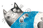 Ashley King Illustration - ashley, king, ashley king, illustrator, fiction, picture book, mass market, young reader, YA, traditional, pen, pencil, wool, ball, playing, jumper, pattern, black line, black and white, b+w, colour, coloured pencil, cat, box, cute, sweet,
