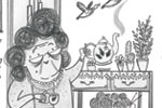 Ashley King Illustration - ashley, king, ashley king, illustrator, fiction, picture book, mass market, young reader, YA, traditional, pen, black and white, b+w, people, person, girl, child, elephant, animal, detail, pencil, lady