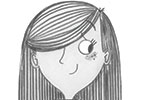 Ashley King Illustration - ashley, king, ashley king, illustrator, fiction, picture book, mass market, young reader, YA, traditional, pen, black and white, b+w, girl, shy, hair, long hair, teen, teenager