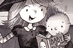 Ally Marie Illustration - ally, marie, ally marie, traditional, watercolour, pencils, black and white, b & w, hand drawn, pastel, digital, sketch, brother, sister, siblings, family, witch, dress up, costume, love, reading, book, halloween, festive, seasonal, pumpkins, cute, sweet,