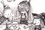 Ally Marie Illustration - ally marie, pencils, black and white, b & w, hand drawn, pastel, digital, sketch, family, birthday, baby, sisters, cute, sweet, father, father, mother, camera, pictures, balloons, cat, pets, hiding, party, candle, cake, hats, dog, streamers, fun, happy,