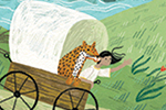 Alona Millgram Illustration - alona millgram, illustrator, digital, painted, traditional, colour, colourful, texture, cart, girl, characters, cheetah, leopard, pet, animal, wild, horse, path, trees, nature, ocean, sea, water, ships, boats