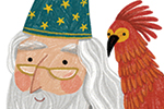 Alona Millgram Illustration - alona millgram, illustrator, digital, painted, traditional, colour, colourful, texture, character, classic, dumbledore, wizard, Phoenix, bird, shoulder, robe, hat, stars, magic,