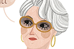 Alona Millgram Illustration - alona millgram, illustrator, digital, painted, traditional, colour, colourful, texture, vignette, character, famous, the devil wears prada, miranda, book, classic, woman, fashion, glasses, shawl, earrings,