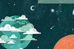 Alona Millgram Illustration - alona millgram, illustrator, digital, painted, traditional, colour, colourful, texture, space, earth, clouds, planet, space station, moon, stars, nature, nasa,