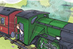 Alex Paterson Illustration - alex paterson, alex, paterson, fiction, educational, ink, pen, digital, watercolour, painting, YA, young reader, train, steam train, station, person, people, figurative, trees, steam, grass, flowers