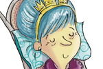 Adriana Puglisi Illustration - adriana puglisi, digital, paint, painted, commercial, educational,sketchy,  photoshop, illustrator, young fiction, editorial, children, people, lady, blue hair, old lady, queen, crown, dogs, sleeping, puppy, puppies, cakes, tea pots, tea cups, rocking cha