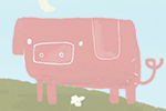 Abi  Tompkins  Illustration - abigail, tompkins, abigail tompkins, trade, sweet, cute, picture book, greetings cards, stationary, digital, painted, photoshop, textured, printed, fiction, young, board books, novelty, animals, pigs, piglets, farms, hills, fields, daisies, oink