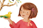 Antonia Woodward Illustration - antonia, woodward, antonia woodward, commercial, trade, picture book, picturebook, novelty, sweet, fiction, traditional, painted, child, person, girl, figure, figurative, birds, animals, tree, leaves, grass, hold, play, colour, colourful