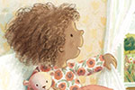 Antonia Woodward Illustration - antonia, woodward, antonia woodward, commercial, trade, picture book, picturebook, novelty, sweet, fiction, traditional, painted, child, person, cute, sweet, bed, window, birds, sky, trees, hills, nature, houses, teddy, teddy bear, sun, clouds,