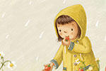 Antonia Woodward Illustration - antonia, woodward, antonia woodward, commercial, trade, picture book, picturebook, novelty, sweet, fiction, traditional, painted, child, person, cute, girl, weather, rain, garden, raindrops, sharing, flowers, rabbit, bunny, mice, animals, wild, nature, fr