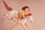 Antonia Woodward Illustration - antonia, woodward, antonia woodward, commercial, trade, picture book, picturebook, novelty, sweet, fiction, traditional, painted, child, person, girl, trees, hills, rainbow, flowers, cute, horse, pajamas, moon