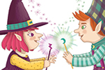 Brenda Figueroa Illustration - brenda, brenda figueroa, commercial, traditional, digital, cute, sweet, colourful, colour, young readers, picture books, witch, wizard, magic, fantasy, wands, spells, stars, purple, green, leaves, halloween, seasonal, autumn, fall, mouse, frog, heart, lov