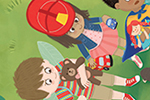 Brenda Figueroa Illustration - brenda, brenda figueroa, commercial, traditional, digital, cute, sweet, colourful, colour, young readers, picture books, boys, girls, children, people, travis, argument, park, playground, grass, flowers, path, ball, wings, fairy wings, fireman's hat, toys
