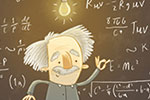 Brendan Kearney Illustration - brendan, kearney, brendan kearney, illustration, colourful, digital, photoshop, hand-drawn, colour, mass market, history, non-fiction, historical figures, Einstein, Albert Einstein, man, figure, professor, chalk, chalkboard, books, lightbulb, equations, m