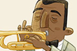 Brendan Kearney Illustration - brendan, kearney, brendan kearney, illustration, colourful, digital, photoshop, hand-drawn, colour, mass market, history, non-fiction, historical figures, louis armstrong, musician, music, trumpet, suit, musical, character, figure, man,