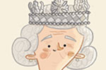 Brendan Kearney Illustration - brendan, kearney, brendan kearney, illustration, colourful, digital, photoshop, hand-drawn, colour, mass market, history, non-fiction, historical figures, woman, character, figure, the queen, royal, crown, dogs, pets, corgis, handbag, royalty