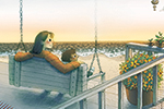 Brittany E. Lakin Illustration - brittany e. lakin, illustration, pencil, drawing, photoshop, colour, colourful, commerical, mass market, texture, characters, family, mother, child, love, family, house, home, porch, deck, sun, sunrise, sunset, beach, shore, ocean, sea, sand, peaceful, ca