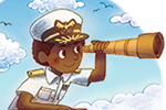 Brittany E. Lakin Illustration - brittany e. lakin, illustration, pencil, drawing, photoshop, colour, colourful, commerical,  texture, characters, vignettes, people, sailor, telescope, crows nest, sky, clouds, ship, navy, hat, captain, adventure, kangaroo, animal, wild, travel, vet, aid,