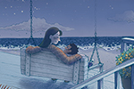 Brittany E. Lakin Illustration - brittany e. lakin, illustration, pencil, drawing, photoshop, colour, colourful, commerical, mass market, texture, characters, family, mother, child, love, family, house, home, porch, deck, night, sky, moon, stars, beach, shore, ocean, sea, sand, peaceful,
