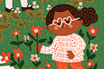 Becky Paige Illustration - becky paige, illustrator, digital, photoshop, colour, colourful, texture, vector, educational, characters, boys, girls, children, friends, nature, park, path, bushes, grass, flowers, flowerbed, watering, garden, gardening, happy, activity, hobby, floral,