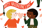 Becky Paige Illustration - becky paige, illustrator, digital, photoshop, colour, colourful, texture, vector, educational, characters, boys, girls, children, friends, valentines day, valentines, happy, hearts, love, cute, sweet, flag, balloon,