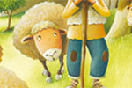 Bruno Robert Illustration - bruno, robert, bruno robert, painted, traditional, paint, commercial, picture book, young reader, YA, cute, sweet, person, man, character, sheep, shepherd, animals, field, trees, grass, rock, plants, bush, eating, food, nature,