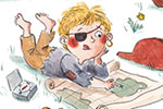 Charlotte Cotterill  Illustration - charlotte, cotterill, charlotte cotterill, illustrator, digital, watercolour, traditional, colour, colourful, pencil, people, girls, boys, playing, game, dressing up, fancy dress, pirates, swords, fight, map, creature, treasure map, telescope, toy, parrot