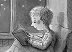 Charlotte Cotterill  Illustration - charlotte, cotterill, charlotte cotterill, illustrator, digital, watercolour, traditional, black and white, b&w, pencil, boy, child, kid, books, reading, window, moon, stars, night, sky, nighttime,