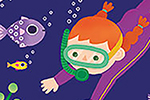 Cristina De Lera  Illustration - cristina, de lera, cristina de lera, illustration, digital, mass market, trade, colourful, picture books, young reader, colour, photoshop, girl, child, swimming, scuba, underwater, ocean, water, fish, jellyfish, coral, seaweed, bubbles, starfish, diving,