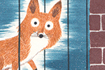 Christine Pym Illustration - christine pym, linocut, watercolour, painted, printed, traditional, trade, picture book, commercial, greetings cards, fox, night, nighttime, texture, brick wall, stars, YA, young reader