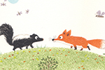 Christine Pym Illustration - christine pym, linocut, watercolour, painted, printed, traditional, trade, picture book, commercial, animal, outdoors, outside, nature, fox, skunk, dog, hippo, panda, ants, mice, ant, mouse, meerkat, meerkats, lamppost, grass, bamboo
