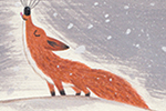 Christine Pym Illustration - christine pym, linocut, watercolour, painted, printed, traditional, trade, picture book, commercial, fox, animal, wild, nature, woods, forest, whiskers, cute, sweet, trees, snow, snowing, winter, seasons, seasonal, howl, cold, mysterious,