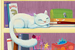 Claudia Ranucci Illustration - claudia ranucci, claudia, ranucci, picture book, commercial, young, mass market, digital, photoshop, illustrator, young reader, monster, yeti, bedroom, books, cat, toys, shelf, cat