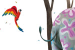 Claudia Ranucci Illustration - claudia ranucci, claudia, ranucci, picture book, commercial, novelty, fiction, young, mass market, trade, digital, photoshop, illustrator, animals, trees, branches, leafs, parrots, feathers, colourful, elephants, painted, flowers,