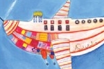 Valeria Valenza Illustration - valeria, valenza, valeria valenza, paint, painted, traditional, decoration, decorative, trade, sophisticated, fiction, picture book, picturebook, plane, airplane, aeroplane